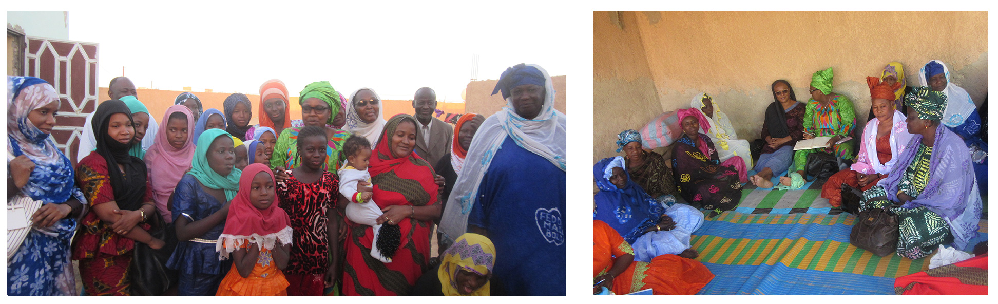 Left: Girls and their mothers at the Community Center. Right: A microfinance group meeting.